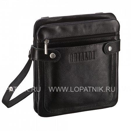 """Кожаная сумка через плечо Newport (Ньюпорт) black BRIALDI BRIALDI-263Мужские сумки через плечо<br>Интересная и удобная сумка - """"сэндвич"""" планшетной формы. Между двумя отделениями - """"слоями"""" расположена вместительная открытая секция, идеальная для размещения документов и мелочей. У модели два наружных кармана: на лицевой стороне открытый, на обратной стороне на молнии. На обратной стороне карман в раскрытом состоянии представляет удобную замену бумажнику, обратите внимание на фото. Вход в первое и второе отделения радует нестандартным решением. Во втором отделении имеется потайной карман. Боковые хлястики на магнитных шпильках помогают сумке держать форму.<br><br> Высококачественная натуральная кожа сорта Great NappaОсновное отделение на магнитном клапане, два дополнительных отделения по бокам ...<br>Материал: Натуральная кожа; Цвет: Черный; Пол: Мужской; Артикул: brialdi-263;"""