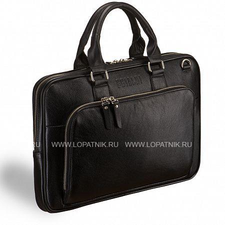 """Деловая сумка SLIM-формата для документов BRIALDI Fairfaxe (Фэрфакс) black BRIALDI BRIALDI-8449Мужские сумки<br>Продуманно сконструированная и аккуратно отшитая модель. Приметный, выполненный уголком, лицевой наружный карман можно использовать как под планшетник, так и под бумаги, внутри расположено два открытых кармана для смартфона и бумажника, а так же гнездо для ручки. Молния основного отделения на двух движках, открывается глубоко и удобно. Внутри карман для бумаг и отсек для планшетного компьютера, удобно закрывается лентой Velcro. На противоположной стороне  - большой потайной карман на молнии. Данная модель с легкостью вмещает ноутбук 14"""" формата. Снаружи, на обратной стороне модели, карман на молнии. Съемный ремень состоит из ткани + кожа, очень комфортный для плеча. Фурнитура модели вып...<br>Материал: Натуральная кожа; Цвет: Черный; Пол: Мужской; Артикул: brialdi-8449;"""