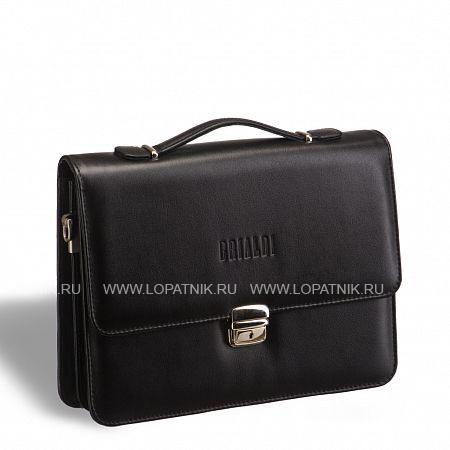Купить Компактный портфель для документов c отделениями BRIALDI Ameca (Амека) black BRIALDI BRIALDI-9525, Черный, Натуральная кожа