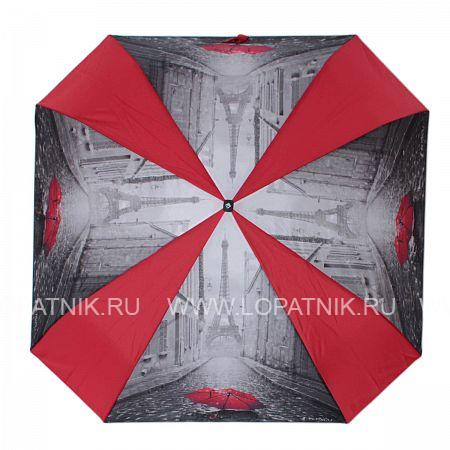 Зонт женский автомат FLIORAJ 170102 FJ, Красный, Черный, Серый, Полиэстер (тканевый) - купить со скидкой