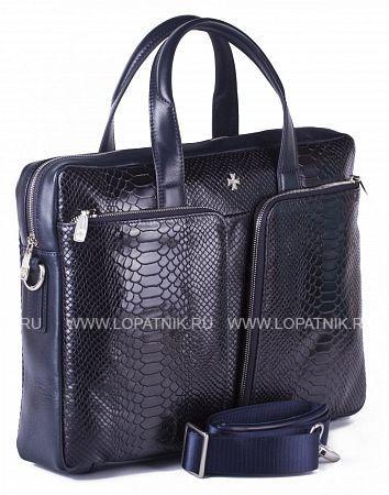 Портфель-сумка из натуральной кожи VASHERON 9757-N.ANACONDA D.BLUEСумки для ноутбуков<br>Портфель-сумка из натуральной телячьей кожи, закрывается на металлическую молнию. На лицевой стороне 2 накладных кармана каждый из которых на молнии,с обратной стороны отделение быстрого доступа на молнии. Внутри одно основное отделение, одно дополнительное на молнии на боковой стенке изделия, одно отделение для планшета (ноутбука) с фирменным логотипом, который закрывается  кожаным хлястиком на липучке, кожаные кармашки для ручек, телефона (айфона). В комплекте плечевой регулируемый ремень.<br>Материал: Натуральная кожа; Цвет: Синий; Пол: Мужской, Женский; Артикул: 9757-N.Anaconda D.Blue;