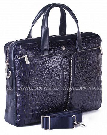 Портфель-сумка из натуральной кожи VASHERON 9757-N.BAMBINO D.BLUEСумки для ноутбуков<br>Портфель-сумка из натуральной телячьей кожи, закрывается на металлическую молнию. На лицевой стороне 2 накладных кармана каждый из которых на молнии,с обратной стороны отделение быстрого доступа на молнии. Внутри одно основное отделение, одно дополнительное на молнии на боковой стенке изделия, одно отделение для планшета (ноутбука) с фирменным логотипом, который закрывается  кожаным хлястиком на липучке, кожаные кармашки для ручек, телефона (айфона). В комплекте плечевой регулируемый ремень.<br>Материал: Натуральная кожа; Цвет: Синий; Пол: Мужской, Женский; Артикул: 9757-N.Bambino D.Blue;