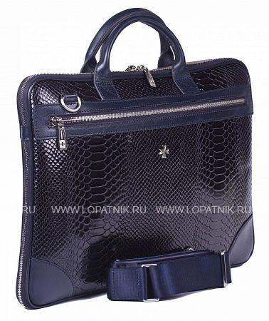 Мужская деловая сумка VASHERON 9742-N.ANACONDA D.BLUEСумки для ноутбуков<br>Портфель-сумка из натуральной телячьей кожи  с увеличением объема, закрывается на металлическую молнию. Объем сумки можно увеличить за счет молнии, которая идет по периметру изделия. Снаружи, с каждой стороны изделия, отделение на молнии. Внутри одно основное отделение, одно дополнительное на молнии на боковой стенке изделия, одно отделение для планшета (ноутбука) с дополнительной защитой, который закрывается кожаным хлястиком на липучке; кожаные кармашки для ручек, телефона (айфона), лента с карабином для ключей. В комплекте плечевой регулируемый ремень.<br>Материал: Натуральная кожа; Цвет: Синий; Пол: Мужской; Артикул: 9742-N.Anaconda D.Blue;
