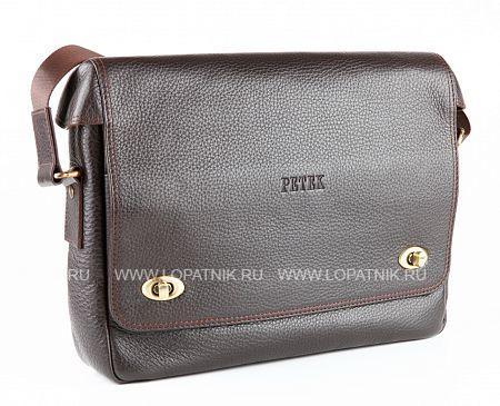 Сумка мужская PETEK 3895.46B.KD2Сумки<br>Мужская сумка Petek, изготовлена из натуральной зернистой фактурной кожи коричневого цвета. Плечевой ремень (текстиль). Крепление на ручку чемодана (на задней стороне). Закрывается на 2 поворотных замка. 1 внутреннее отделение. 2 внутренних кармана. 1 внешний карман (на молнии).<br>Материал: Натуральная кожа; Цвет: Коричневый; Пол: Мужской; Артикул: 3895.46B.KD2;