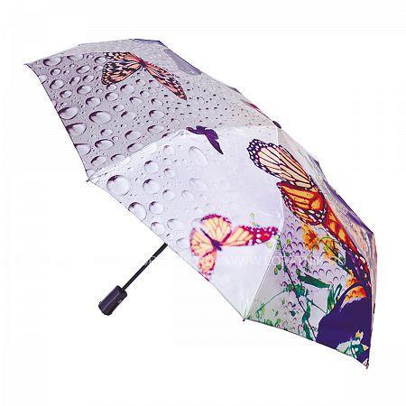 Купить Зонт складной женский FLIORAJ 231208 FJ, Оранжевый, Фиолетовый, Серый