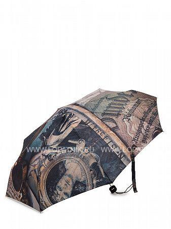 Купить Зонт складной женский FLIORAJ 016-001 FJ, Коричневый, Черный, Серый