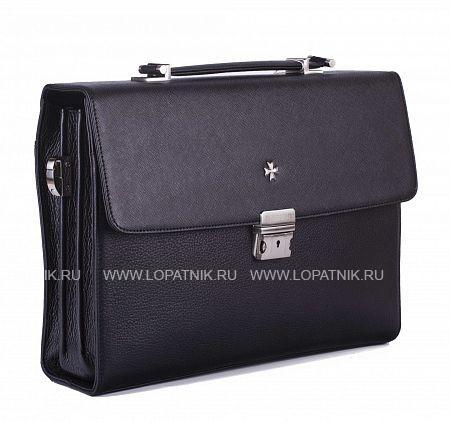 Портфель мужской VASHERON 9744-N.PRADA BLACK/POLO/BПортфели<br>Небольшой портфель из натуральной телячьей кожи. Крышка портфеля сделана из очень практичной кожи особенной выделки.<br>Внутри портфеля: 3 больших отделения, среднее отделение закрывается на молнию. На задней стенке внутренний карман для бумаг на молнии, карман для бумаг под крышкой. Кармашки для телефона и для ручек. Снаружи портфеля: На задней стенке внешний карман на молнии. Плечевой ремень в комплекте. Подкладка - замша.<br>Материал: Натуральная кожа; Цвет: Черный; Пол: Мужской; Артикул: 9744-N.Prada Black/Polo/B;