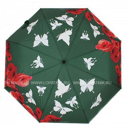 Купить Зонт складной женский FLIORAJ 210203 FJ, Зеленый, Разноцветный, Полиэстер (тканевый)