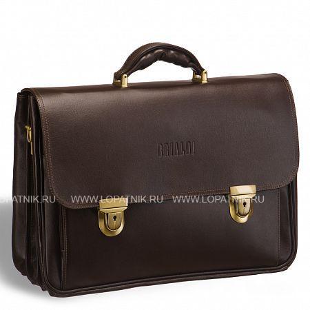 Объемный классический портфель для документов с 3-мя отделениями BRIALDI Konstantin (Константин) brown BRIALDI-9546