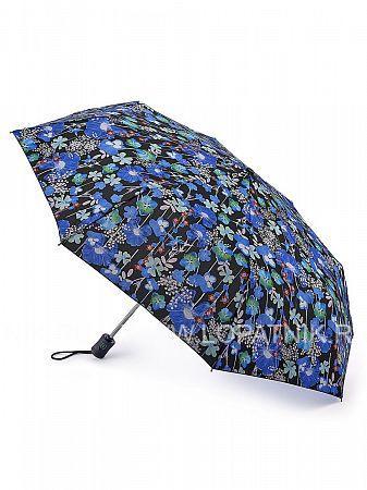 Купить Зонт складной женский FULTON L346-3382, Синий, Черный, Разноцветный, Полиэстер (тканевый)