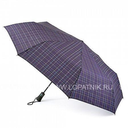 Купить Зонт автомат мужской FULTON G842-3046 NAVYPLAID, Синий, Полиэстер (тканевый)