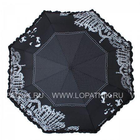 Купить Зонт женский автомат FLIORAJ 250101 FJ, Черный, Серый, Полиэстер (тканевый)