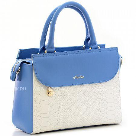 Купить Женская кожаная сумка VASHERON 9994-N.BRIGHT BLUE/ANAC W, Белый, Синий, Натуральная кожа