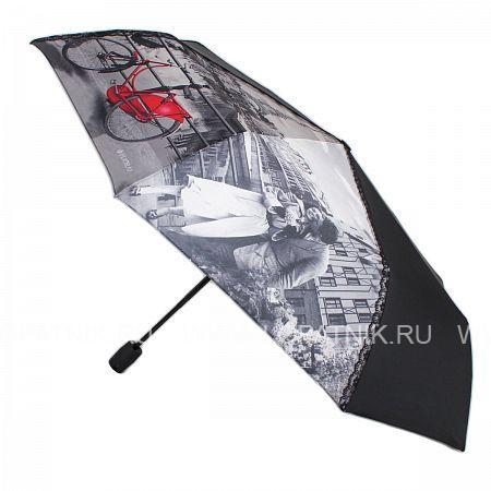 Купить Зонт складной женский FLIORAJ 100101 FJ, Черный, Серый, Полиэстер (тканевый)