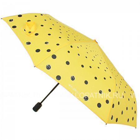 Купить Зонт женский полуавтомат FLIORAJ 100409 FJ, Желтый, Черный, Полиэстер (тканевый)