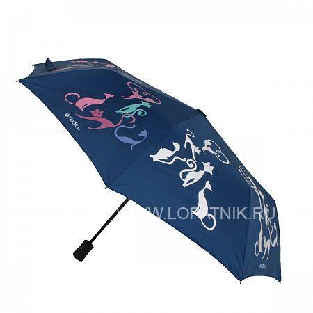 Купить Зонт женский полуавтомат FLIORAJ 100615 FJ, Синий, Разноцветный, Полиэстер (тканевый)