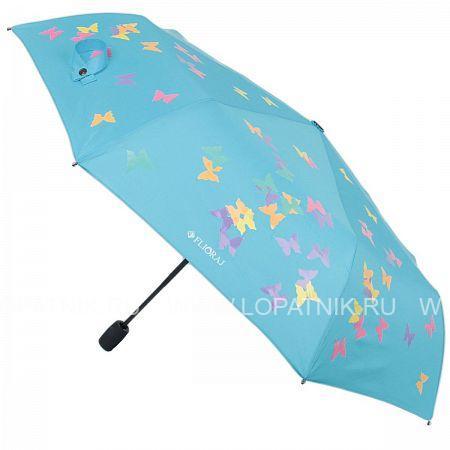 Купить Зонт женский полуавтомат FLIORAJ 100717 FJ, Голубой, Разноцветный, Полиэстер (тканевый)