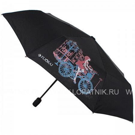 Купить Зонт женский автомат FLIORAJ 100803 FJ, Черный, Полиэстер (тканевый)