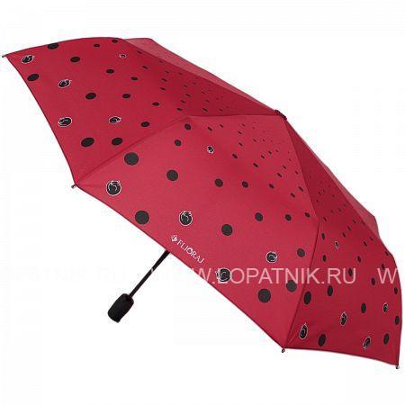 Купить Зонт автомат женский FLIORAJ 160407 FJ, Красный, Черный, Полиэстер (тканевый)