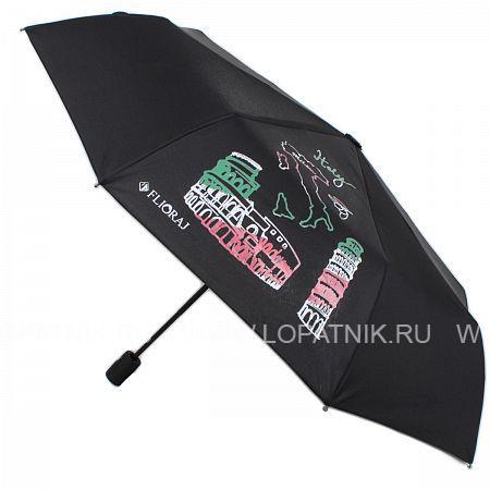 Купить Зонт автомат женский FLIORAJ 210801 FJ, Черный, Полиэстер (тканевый)