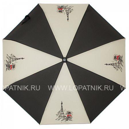 Купить Зонт автомат женский FLIORAJ 310100 FJ, Черный, Серый, Полиэстер (тканевый)