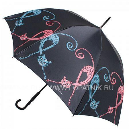 Купить Зонт трость женский FLIORAJ 050223 FJ, Черный, Разноцветный, Полиэстер (тканевый)