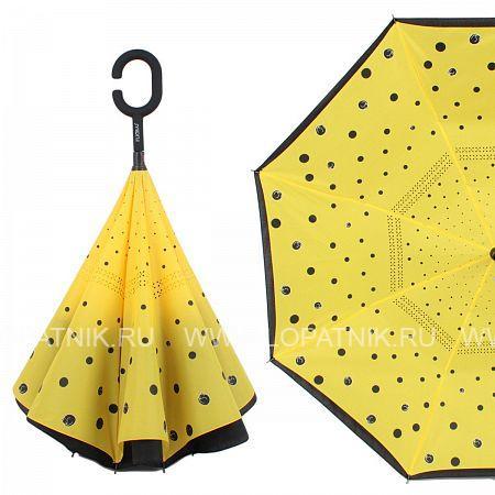 Купить Зонт трость-двусторонний женский FLIORAJ 120009 FJ, Желтый, Черный, Полиэстер (тканевый)