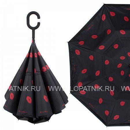 Купить Зонт трость-двусторонний женский FLIORAJ 120012 FJ, Красный, Черный, Полиэстер (тканевый)