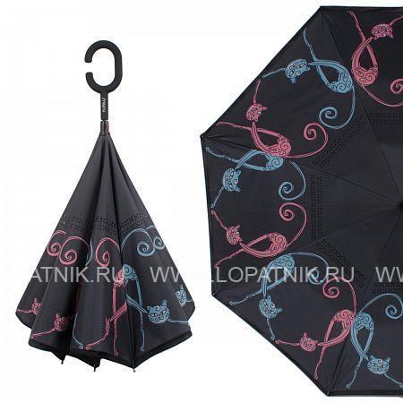 Купить Зонт трость-двусторонний женский FLIORAJ 120013 FJ, Черный, Разноцветный, Полиэстер (тканевый)