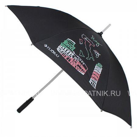 Купить Зонт-трость женский FLIORAJ 300801 FJ, Черный, Полиэстер (тканевый)