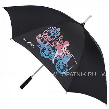 Купить Зонт-трость женский FLIORAJ 300803 FJ, Черный, Полиэстер (тканевый)