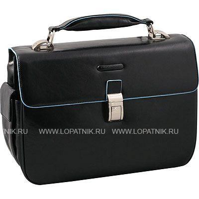 Купить Портфель с одним замком PIQUADRO CA1095B2/N, Голубой, Черный, Натуральная кожа