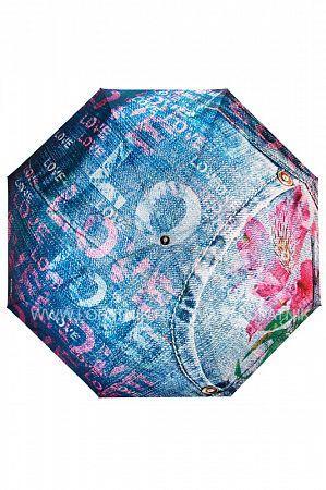 Зонт складной женский FLIORAJ 014-43 FJ, Синий, Разноцветный  - купить со скидкой
